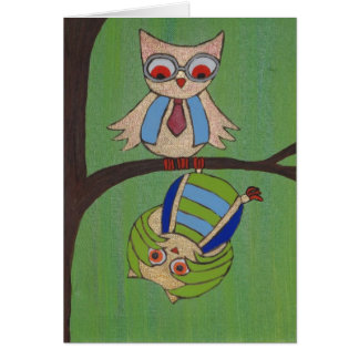Opposites Attract Owls Greeting Cards