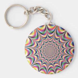 optical illusion keyring basic round button key ring