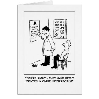 Optician giving an eye-test card