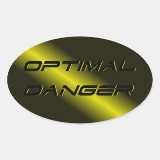 OPTIMAL DANGER. OVAL STICKER