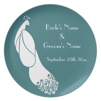 Oracle Green Art Deco Peacock Wedding Memento Plate