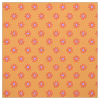 Orang 1960's Retro Flower Power Cotton Quilt Quart Fabric
