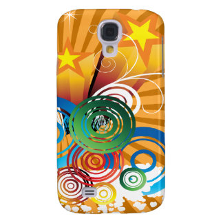 orange abstract retro funky art galaxy s4 case