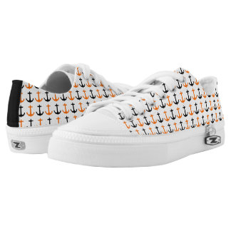 Orange and Black Anchor Pattern Printed Shoes