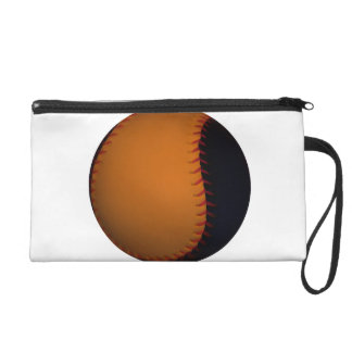 Orange and Black Baseball Softball Wristlet Purse