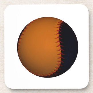 Orange and Black Baseball Softball Beverage Coaster