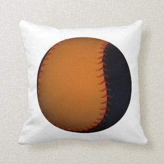Orange and Black Baseball Softball Throw Pillow