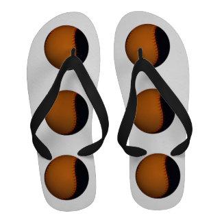 Orange and Black Baseball Softball Flip-Flops