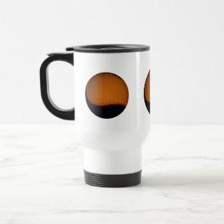 Orange and Black Baseball / Softball 15 Oz Stainless Steel Travel Mug