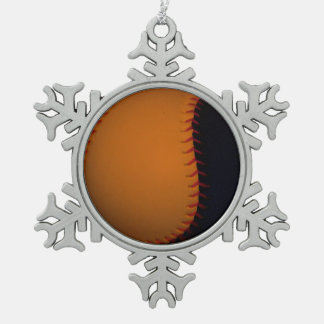Orange and Black Baseball / Softball Snowflake Pewter Christmas Ornament