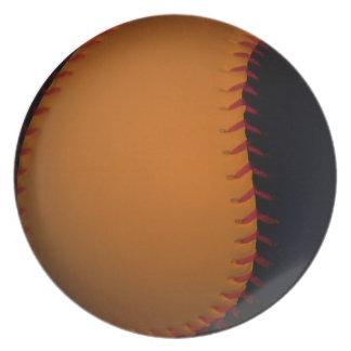 Orange and Black Baseball Softball Party Plates