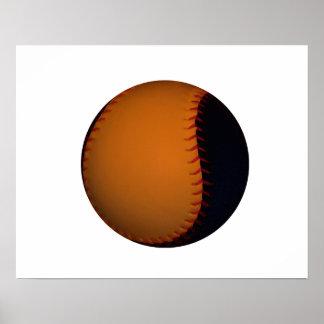 Orange and Black Baseball Softball Poster