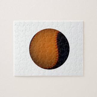 Orange and Black Baseball Softball Jigsaw Puzzle