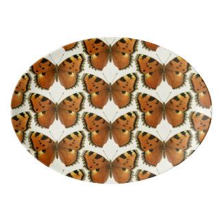 Orange and Black Butterflies Pattern Porcelain Serving Platter