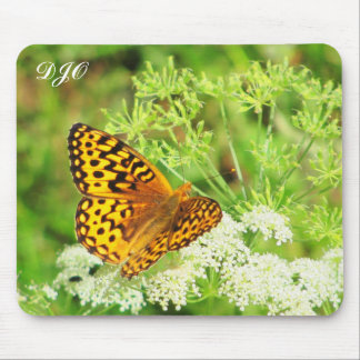 Orange and Black Butterfly Resting on White Flower Mouse Pad
