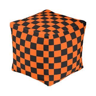 Orange and Black Checkered Cube Pouffe