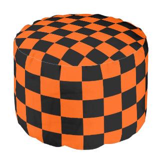 Orange and Black Checkered Pouf