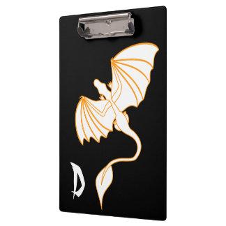 Orange and Black Dragon Monogram Clipboards