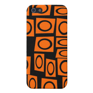 Orange and Black Fun Circle Squares Pattern Gifts Case For iPhone 5/5S