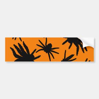 Orange and Black Halloween Spiders Bumper Sticker