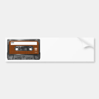 Orange and Black Houndstooth Cassette Bumper Sticker
