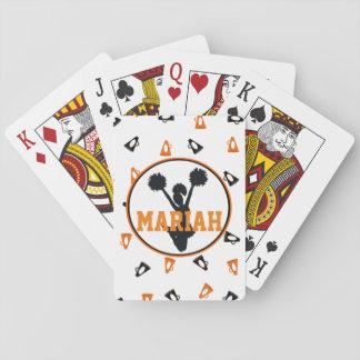 Orange and Black Megaphones Cheer Personalized Poker Cards