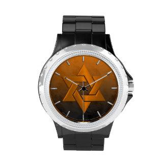 Orange and Black Ombre Grunge Wristwatches