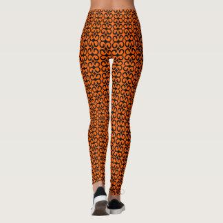 Orange and Black Pattern Leggings