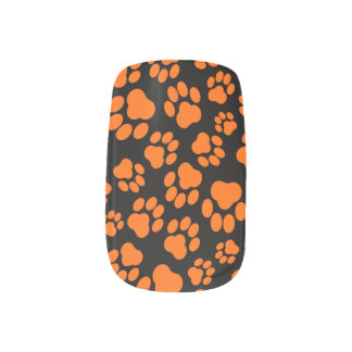 Orange-and-Black Paw Print Nail Art