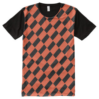 Orange And Black Rectangles Retro Pattern All-Over Print T-Shirt