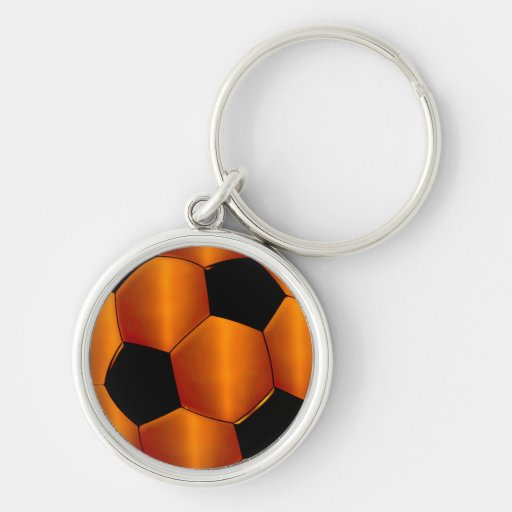 Orange and Black Soccer Ball Key Chains