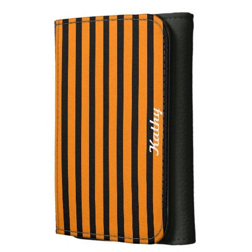 Orange and Black Striped Tri-fold Wallet