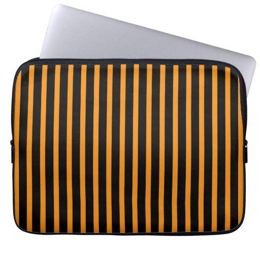 Orange and Black Stripes Computer Sleeves