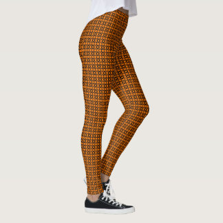 Orange and Black X and O Leggings