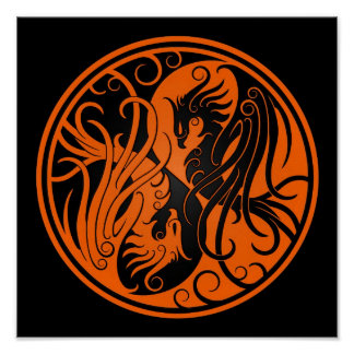 Orange and Black Yin Yang Phoenix Poster