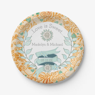 Orange and Blue Floral Custom Wedding Paper Plates 7 Inch Paper Plate