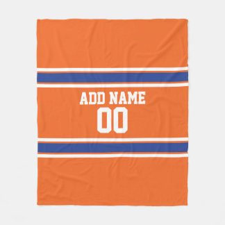 Orange and Blue Personalised Sports Jersey Fleece Blanket