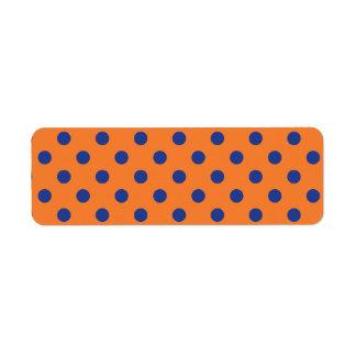 Orange and Blue Polka Dots Return Address Label