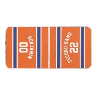 Orange and Blue Sports Jersey Stripes Beer Pong Table