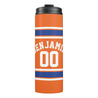 Orange and Blue Sports Jersey Stripes Thermal Tumbler
