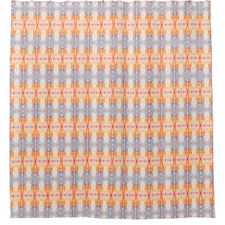Orange and Blue Swirly Patterned Shower Curtain