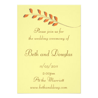 Orange and Brown Autumn Leaves Wedding Invitation