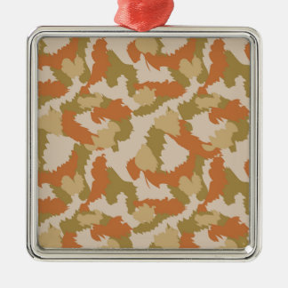 Orange and Brown Camouflage Silver-Colored Square Decoration