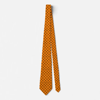 Orange and Brown Checked Custom Tie