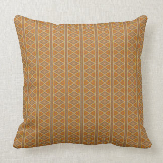Orange and Brown Diamonds and Stripes Pattern Throw Pillow