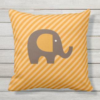 Orange and Brown Elephant on Diagonal Stripe Cushion