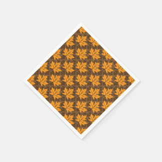 Orange and brown fall maple leaves pattern paper serviettes