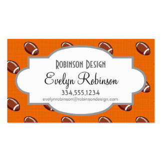 Orange and Brown Football Pattern Business Card
