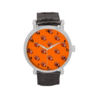 Orange and Brown Football Pattern Wrist Watches