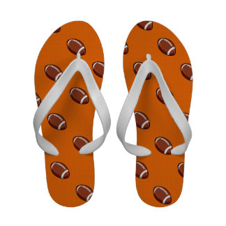 Orange and Brown Football Pattern Sandals